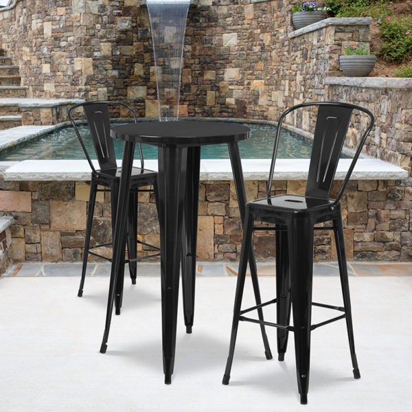 Wholesale 24'' Round Black Metal Indoor-Outdoor Bar Table Set with 2 Cafe Stools