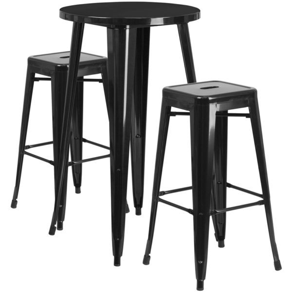 Lowest Price 24'' Round Black Metal Indoor-Outdoor Bar Table Set with 2 Square Seat Backless Stools