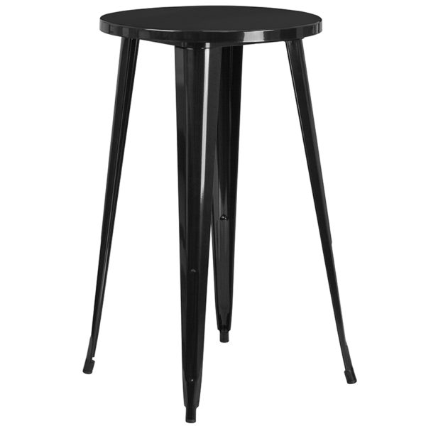 Bar Height Table and Stool Set 24RD Black Metal Bar Set