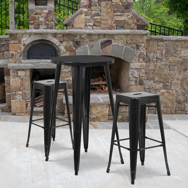 Wholesale 24'' Round Black Metal Indoor-Outdoor Bar Table Set with 2 Square Seat Backless Stools