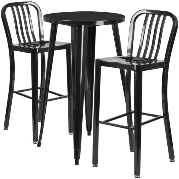Lowest Price 24'' Round Black Metal Indoor-Outdoor Bar Table Set with 2 Vertical Slat Back Stools