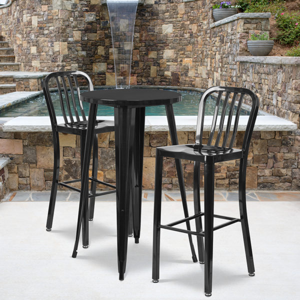 Wholesale 24'' Round Black Metal Indoor-Outdoor Bar Table Set with 2 Vertical Slat Back Stools
