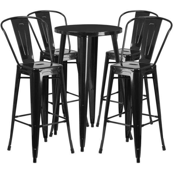 Lowest Price 24'' Round Black Metal Indoor-Outdoor Bar Table Set with 4 Cafe Stools