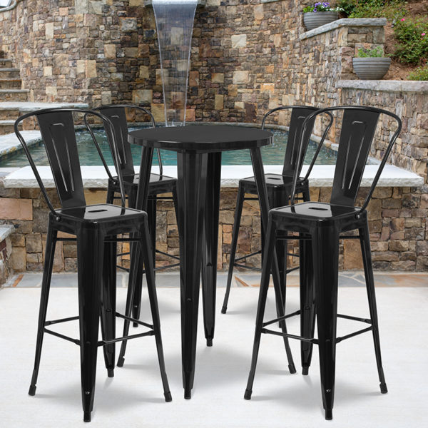 Wholesale 24'' Round Black Metal Indoor-Outdoor Bar Table Set with 4 Cafe Stools