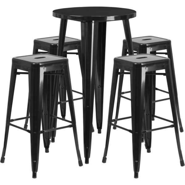 Lowest Price 24'' Round Black Metal Indoor-Outdoor Bar Table Set with 4 Square Seat Backless Stools