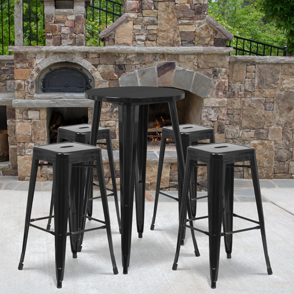 Wholesale 24'' Round Black Metal Indoor-Outdoor Bar Table Set with 4 Square Seat Backless Stools