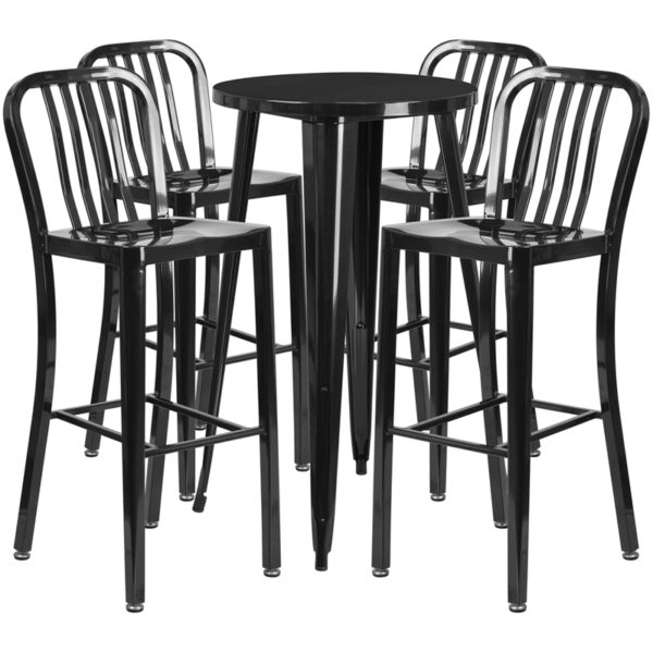 Lowest Price 24'' Round Black Metal Indoor-Outdoor Bar Table Set with 4 Vertical Slat Back Stools