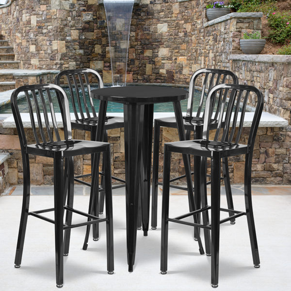 Wholesale 24'' Round Black Metal Indoor-Outdoor Bar Table Set with 4 Vertical Slat Back Stools