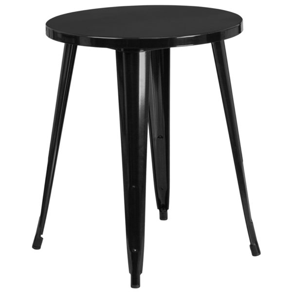 Wholesale 24'' Round Black Metal Indoor-Outdoor Table