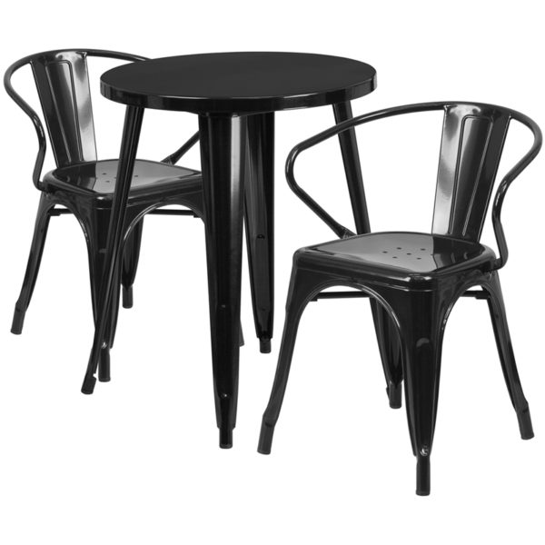 Wholesale 24'' Round Black Metal Indoor-Outdoor Table Set with 2 Arm Chairs