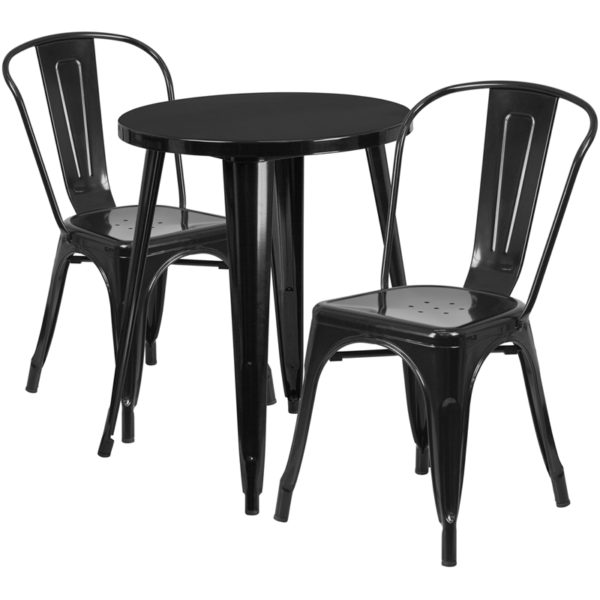 Wholesale 24'' Round Black Metal Indoor-Outdoor Table Set with 2 Cafe Chairs