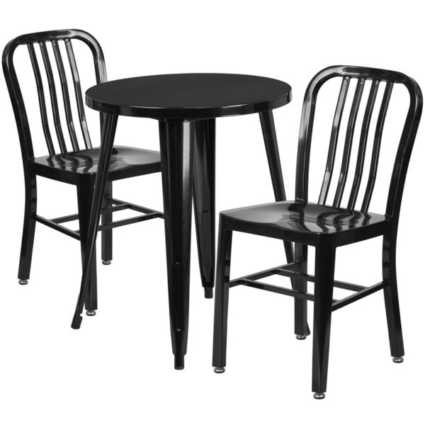 Wholesale 24'' Round Black Metal Indoor-Outdoor Table Set with 2 Vertical Slat Back Chairs
