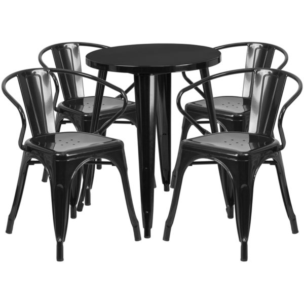 Wholesale 24'' Round Black Metal Indoor-Outdoor Table Set with 4 Arm Chairs