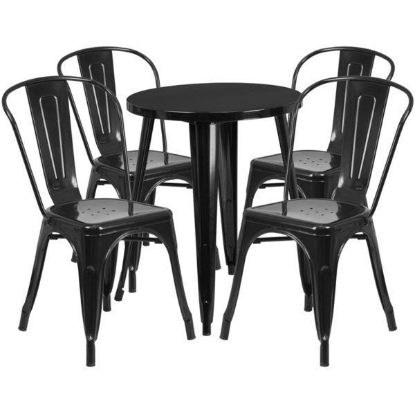 Wholesale 24'' Round Black Metal Indoor-Outdoor Table Set with 4 Cafe Chairs