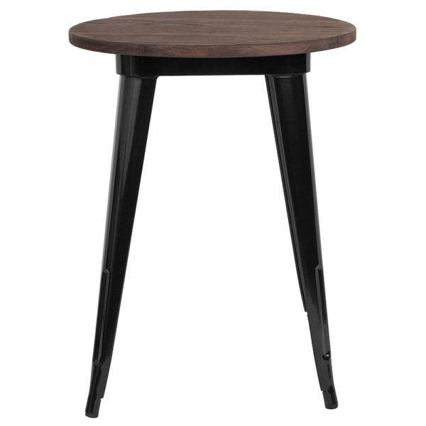 "Lowest Price 24"" Round Black Metal Indoor Table with Walnut Rustic Wood Top"