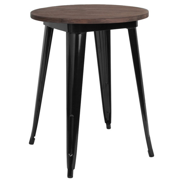 "Wholesale 24"" Round Black Metal Indoor Table with Walnut Rustic Wood Top"