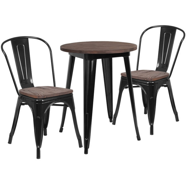 """Wholesale 24"""" Round Black Metal Table Set with Wood Top and 2 Stack Chairs"""