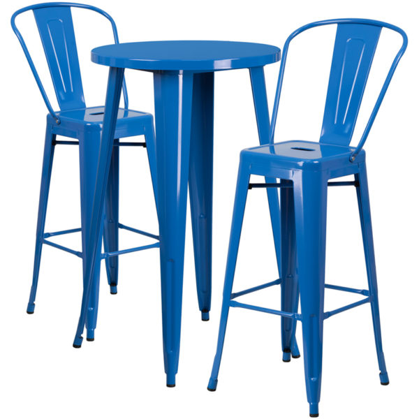 Lowest Price 24'' Round Blue Metal Indoor-Outdoor Bar Table Set with 2 Cafe Stools