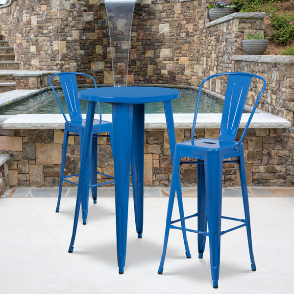 Wholesale 24'' Round Blue Metal Indoor-Outdoor Bar Table Set with 2 Cafe Stools