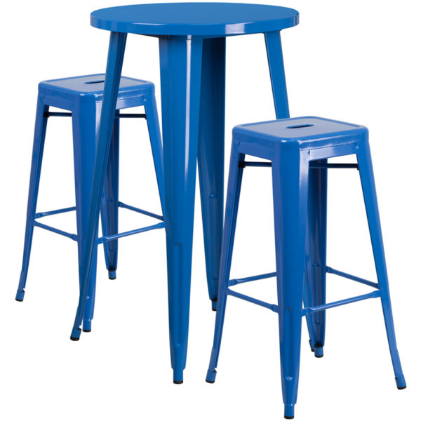 Lowest Price 24'' Round Blue Metal Indoor-Outdoor Bar Table Set with 2 Square Seat Backless Stools