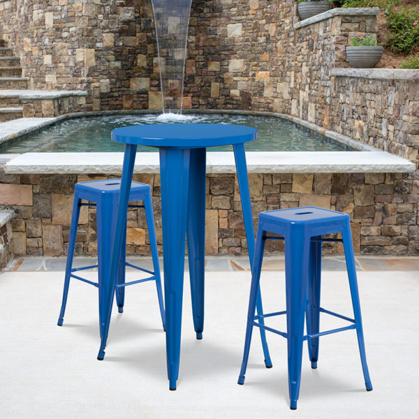 Wholesale 24'' Round Blue Metal Indoor-Outdoor Bar Table Set with 2 Square Seat Backless Stools