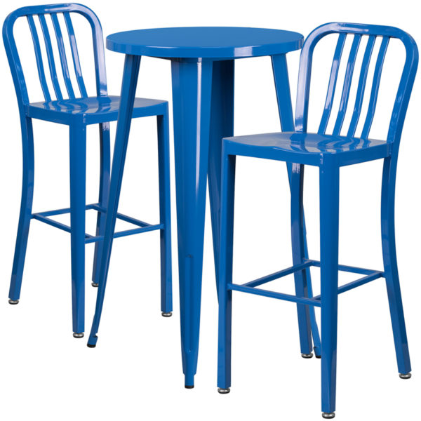 Lowest Price 24'' Round Blue Metal Indoor-Outdoor Bar Table Set with 2 Vertical Slat Back Stools