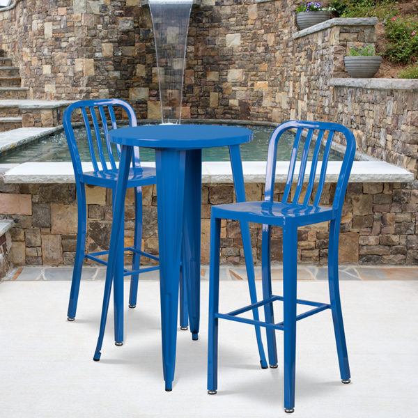 Wholesale 24'' Round Blue Metal Indoor-Outdoor Bar Table Set with 2 Vertical Slat Back Stools