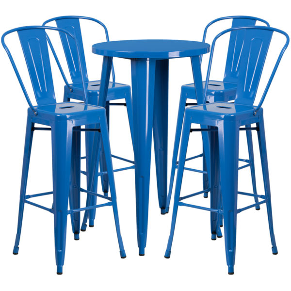 Lowest Price 24'' Round Blue Metal Indoor-Outdoor Bar Table Set with 4 Cafe Stools