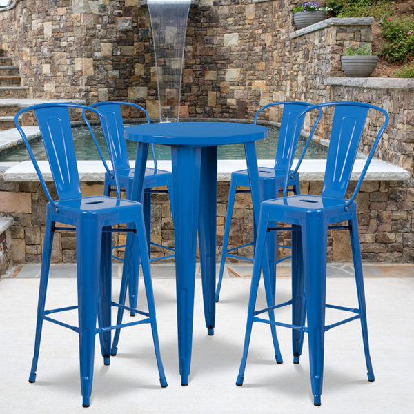 Wholesale 24'' Round Blue Metal Indoor-Outdoor Bar Table Set with 4 Cafe Stools