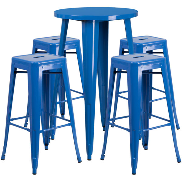 Lowest Price 24'' Round Blue Metal Indoor-Outdoor Bar Table Set with 4 Square Seat Backless Stools