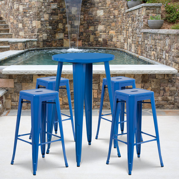 Wholesale 24'' Round Blue Metal Indoor-Outdoor Bar Table Set with 4 Square Seat Backless Stools