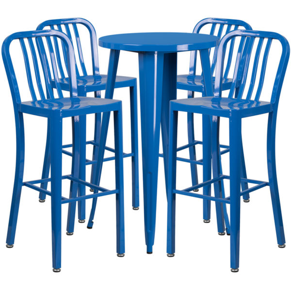 Lowest Price 24'' Round Blue Metal Indoor-Outdoor Bar Table Set with 4 Vertical Slat Back Stools