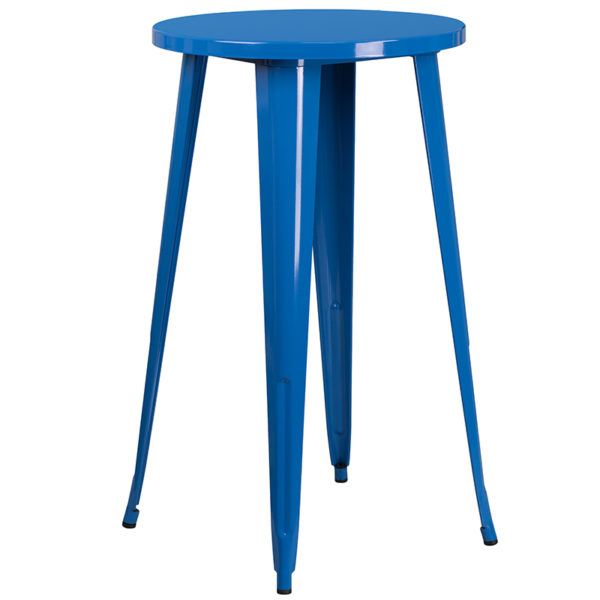 Bar Height Table and Stool Set 24RD Blue Metal Bar Set