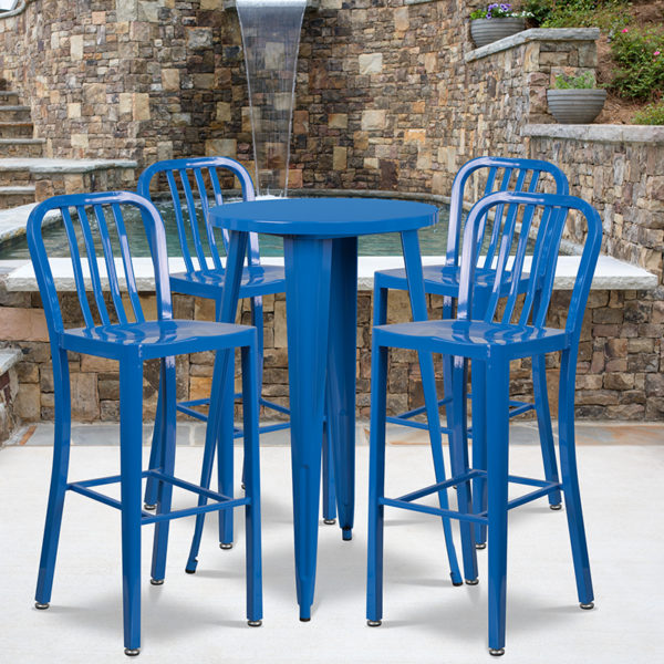 Wholesale 24'' Round Blue Metal Indoor-Outdoor Bar Table Set with 4 Vertical Slat Back Stools