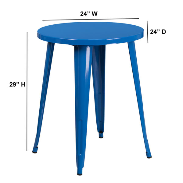 Lowest Price 24'' Round Blue Metal Indoor-Outdoor Table