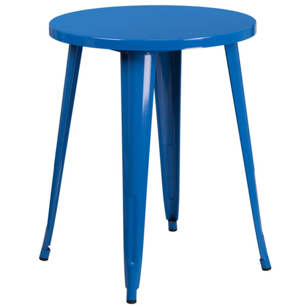 Wholesale 24'' Round Blue Metal Indoor-Outdoor Table
