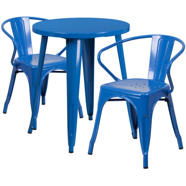 Wholesale 24'' Round Blue Metal Indoor-Outdoor Table Set with 2 Arm Chairs