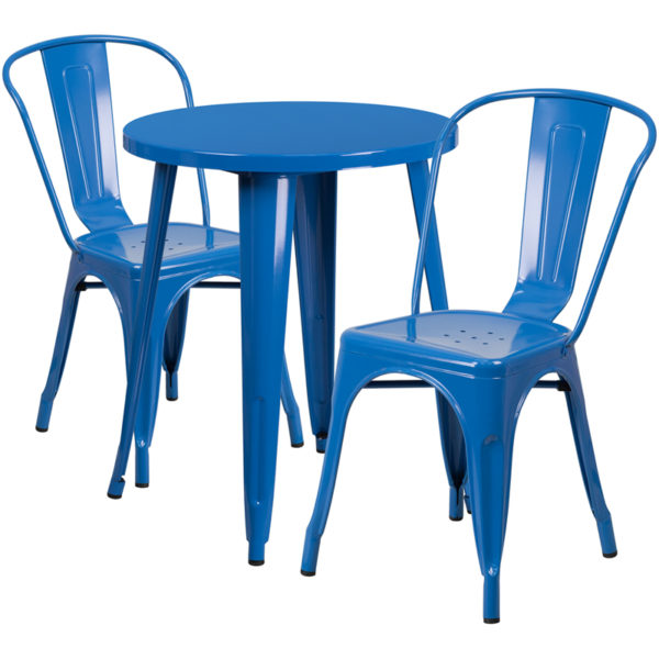 Wholesale 24'' Round Blue Metal Indoor-Outdoor Table Set with 2 Cafe Chairs