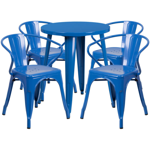 Wholesale 24'' Round Blue Metal Indoor-Outdoor Table Set with 4 Arm Chairs