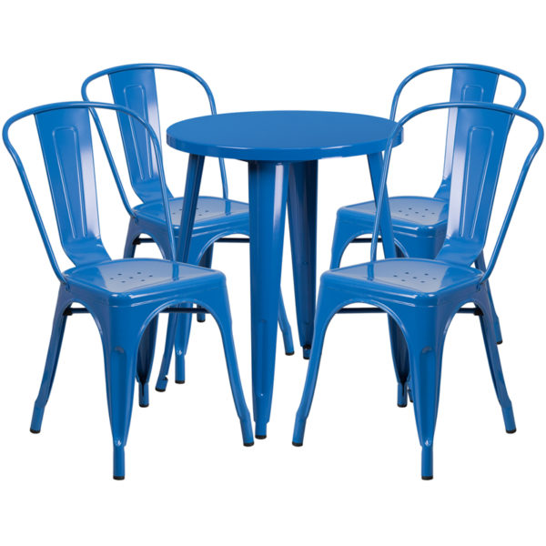Wholesale 24'' Round Blue Metal Indoor-Outdoor Table Set with 4 Cafe Chairs