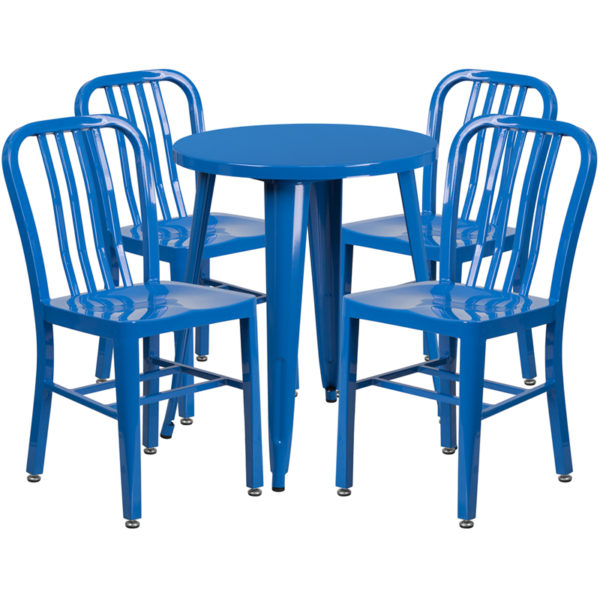 Wholesale 24'' Round Blue Metal Indoor-Outdoor Table Set with 4 Vertical Slat Back Chairs
