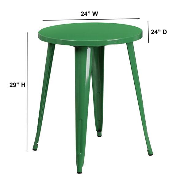 Lowest Price 24'' Round Green Metal Indoor-Outdoor Table