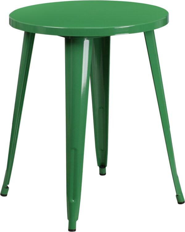 Wholesale 24'' Round Green Metal Indoor-Outdoor Table