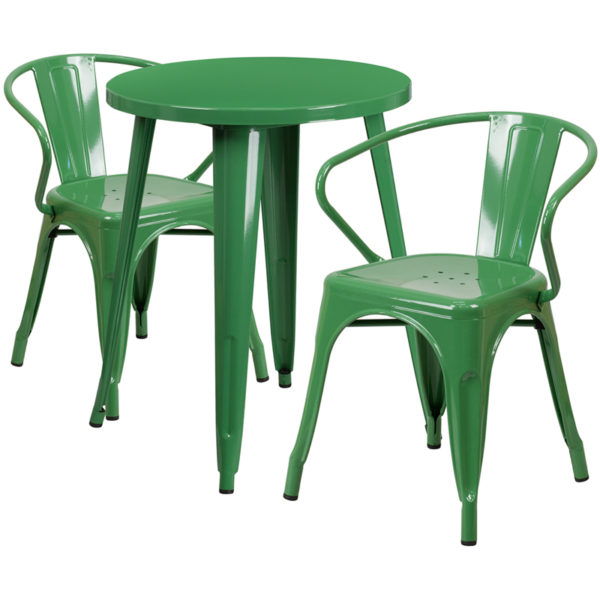 Wholesale 24'' Round Green Metal Indoor-Outdoor Table Set with 2 Arm Chairs