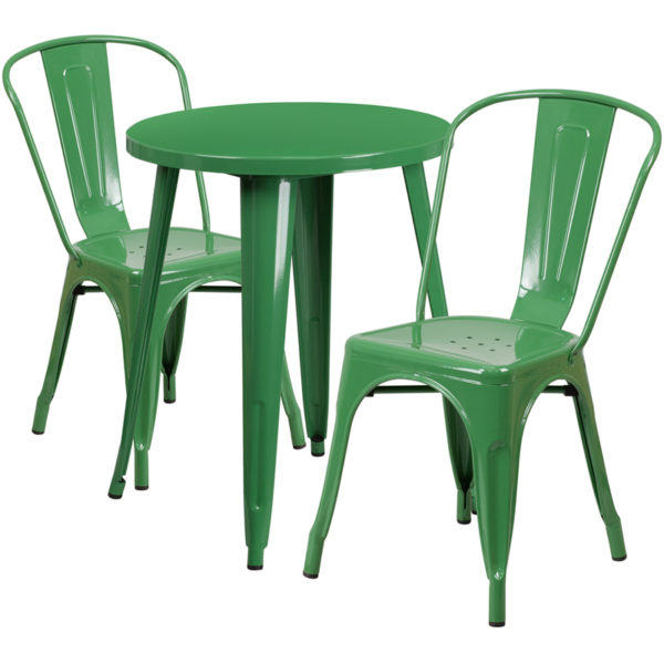 Wholesale 24'' Round Green Metal Indoor-Outdoor Table Set with 2 Cafe Chairs