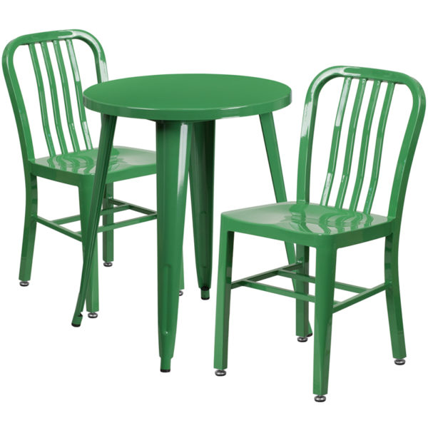 Wholesale 24'' Round Green Metal Indoor-Outdoor Table Set with 2 Vertical Slat Back Chairs