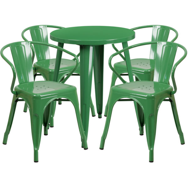 Wholesale 24'' Round Green Metal Indoor-Outdoor Table Set with 4 Arm Chairs