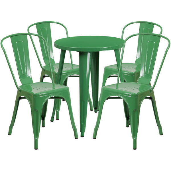 Wholesale 24'' Round Green Metal Indoor-Outdoor Table Set with 4 Cafe Chairs
