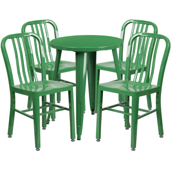 Wholesale 24'' Round Green Metal Indoor-Outdoor Table Set with 4 Vertical Slat Back Chairs