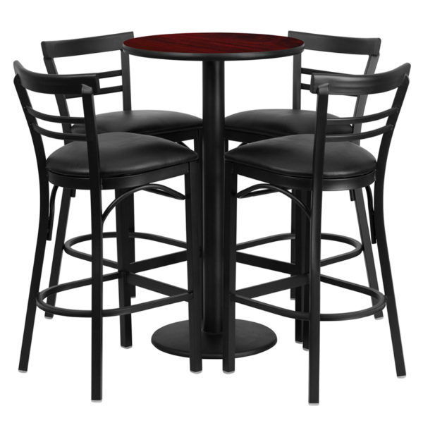 Lowest Price 24'' Round Mahogany Laminate Table Set with Round Base and 4 Two-Slat Ladder Back Metal Barstools - Black Vinyl Seat